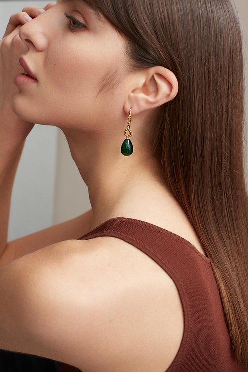 Helena Earrings Emerald Green