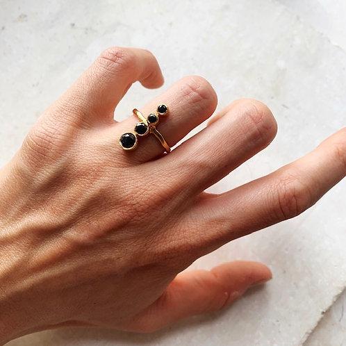 Santi Four Tier Crystal Ring Black
