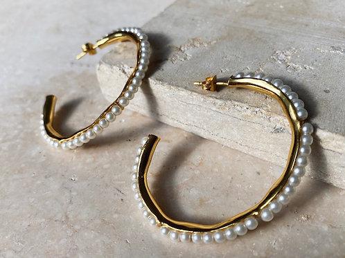 Hermaenie Hoops Small Pearl
