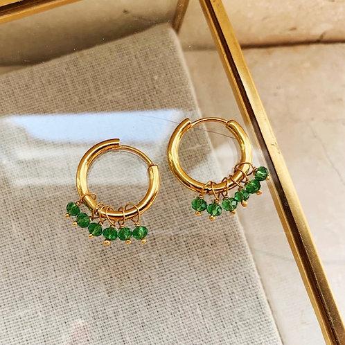 Huggie Earrings Emerald Green