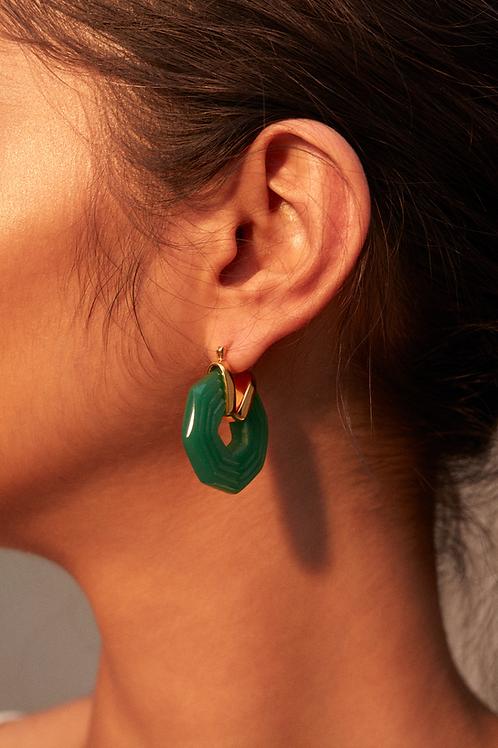 Sphinx Earrings Emerald Green