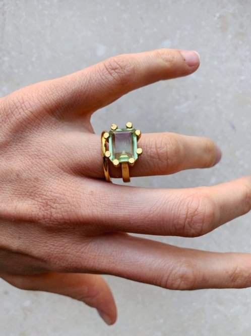 Square Claw Ring Green