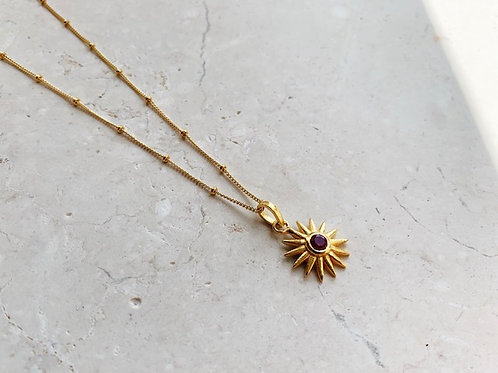 Full Sun Necklace Ruby Red