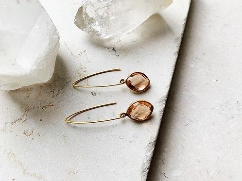 Oval Quartz Hook Earrings