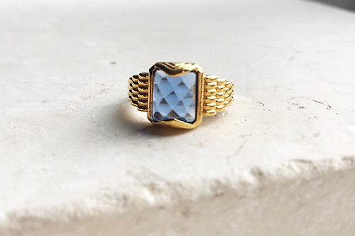 Ila Faceted Ring Blue Hydro
