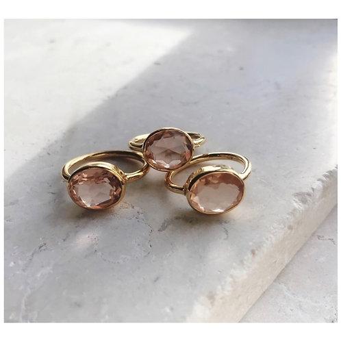 Oval Chunky Ring Champagne Quartz