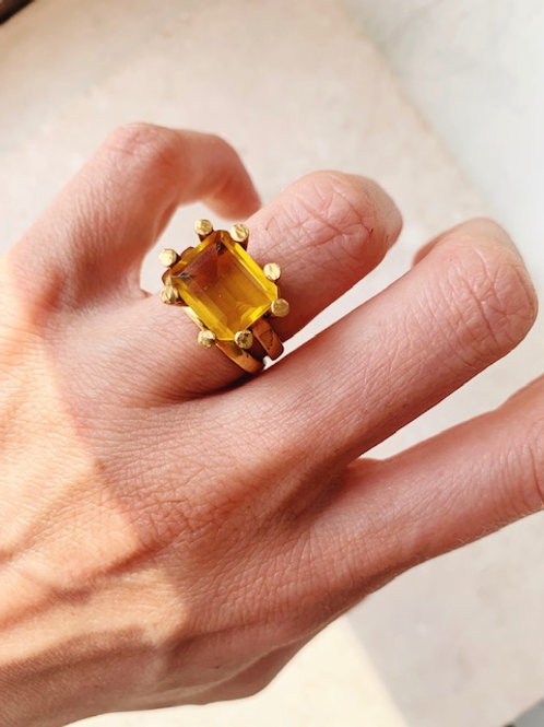Square Claw Ring Citrine