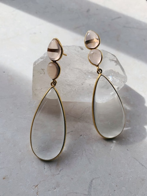 Perrin Clear Hydro and Soft Champagne Earrings