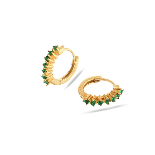 Paige Huggie Earrings Emerald Green