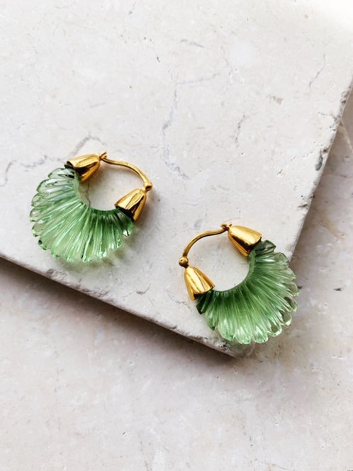 Ettienne Green Ridged Earring
