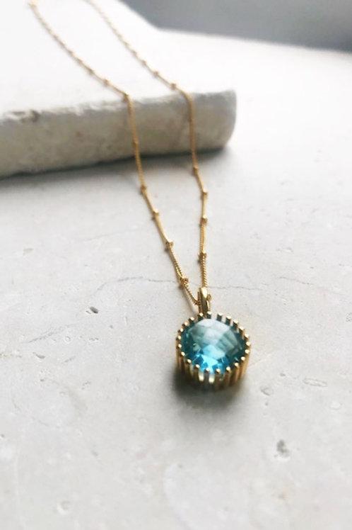 Clemence Necklace Light Blue Hydro