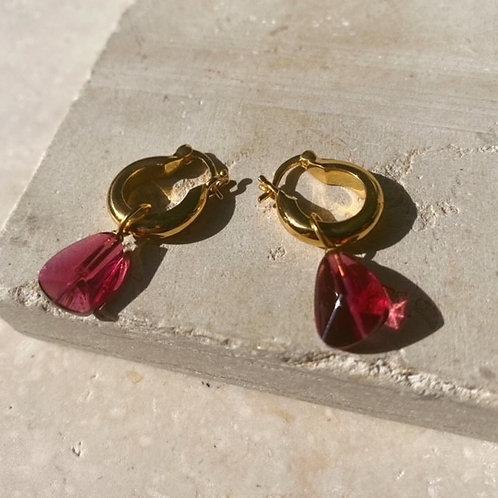 Priya Earrings Ruby Red