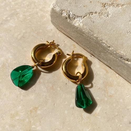 Priya Earrings Emerald Green