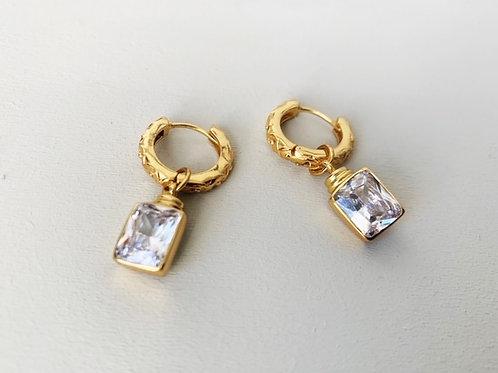 Margot Huggie Clear Crystal Earrings