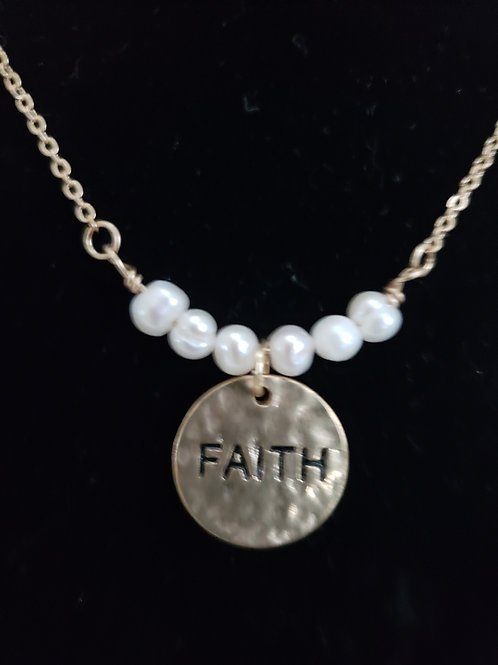 Freshwater Pearl Gold Necklace - Faith