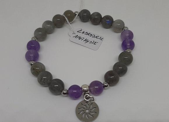 Bracelet en pierres naturelles - Labradorite / Amethyste