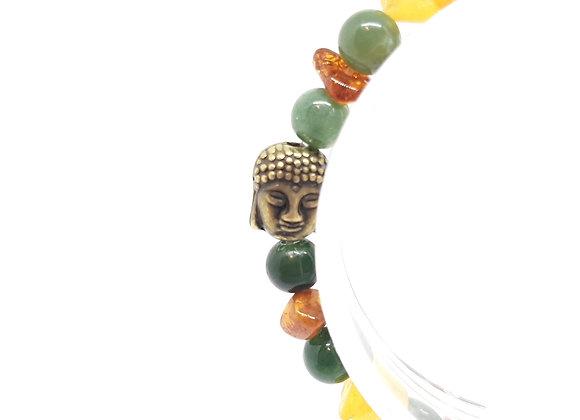 Bracelet en pierres naturelles / Ambre-Agate Mousse