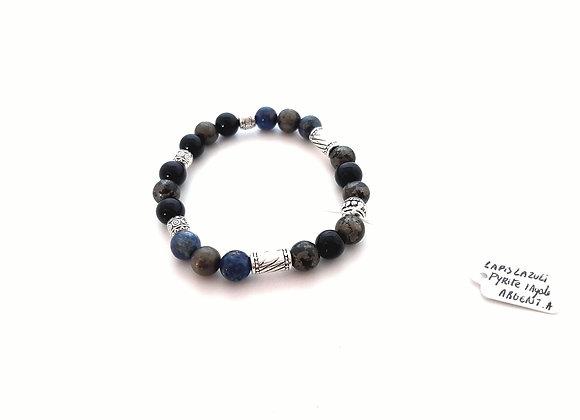 Bracelet Pyrite /Agate Noire / Lapis Lazuli
