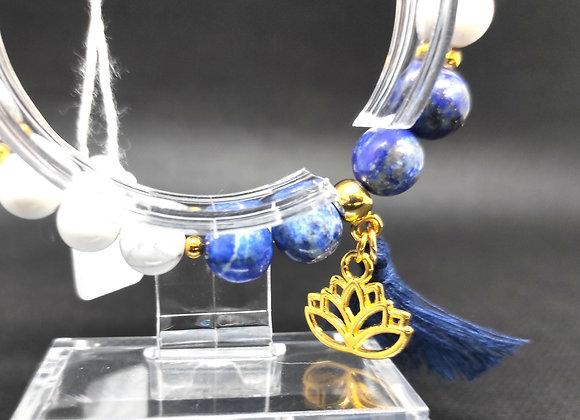 Bracelet howlite, lapis-lazuli