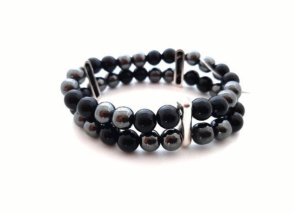 Bracelet en pierres naturelles / Hématite - Agate Noire