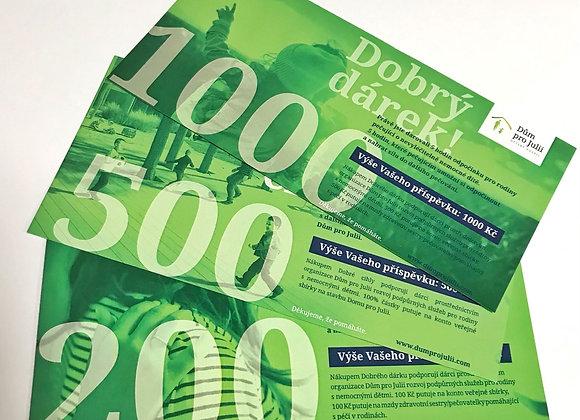 DOBRÝ DÁREK 200, 500 a 1000 Kč - tištěný