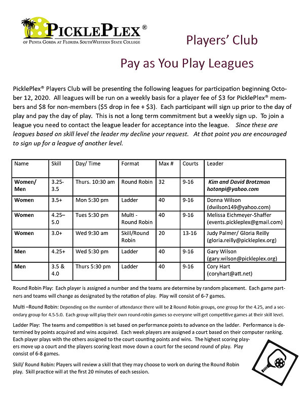 updated draw pay as play leagues revised