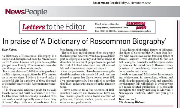 20 November 2020 Roscommon People by Ros
