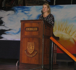 Ms. Broodryk addressing the guests