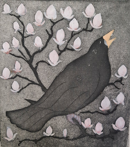 """Blackbird with Magnolia 2"", Margaret Becker"