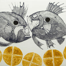 """""""Loaves and Fishes"""", Carborundum, Edition of 10, 29 x 32cm, Mo Montgomery"""