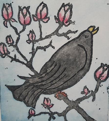 'Blackbird with Magnolia' by Margaret Becker