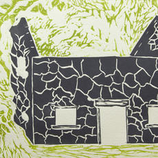 """Slí Carrowntober"", Lino-cut, edition of 6, 27 x 35cm, Bernie Fleming"