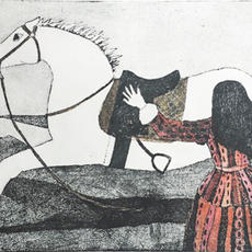 """Caoineadh Airt Uí Laoghaire"", Etching, 25 x 35cm,  Ed of 25,  Mary McGrath."