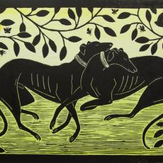 """Hounds"", Lino-Cut, Edition of 30, 24 x 35cm, Rebecca Homfray"