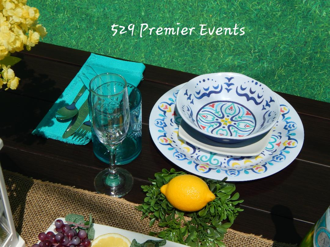 Green and Blue Table Decor