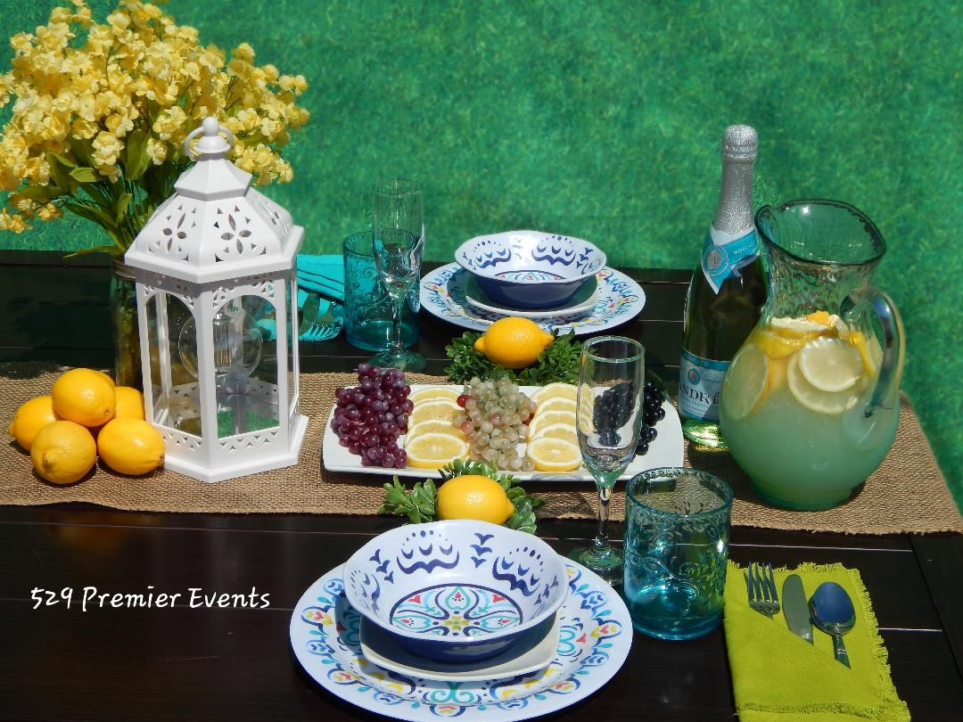 Blue and Green Summer Table Decor