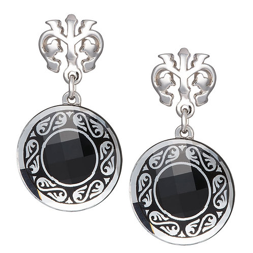 Earrings crystal medallions Magical Ornament Sterling silver for women