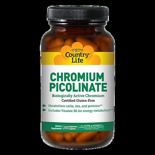 Country Life Chromium Picolinate (Chromax) 200 Vegetarian Capsules