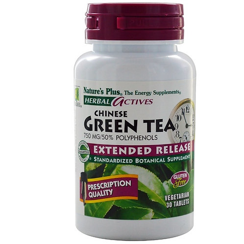 Nature's Plus Chinese Green Tea 750 mg 30 Veg Tabs