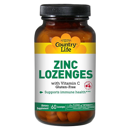 Country Life Zinc Lozenges with Vitamin C Cherry 60 Lozenges