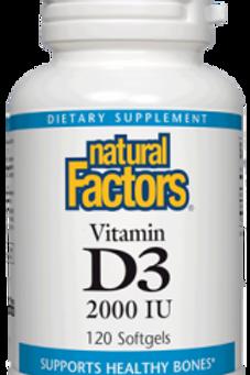 Natural Factors Vitamin D3 2000 IU 120 Softgels