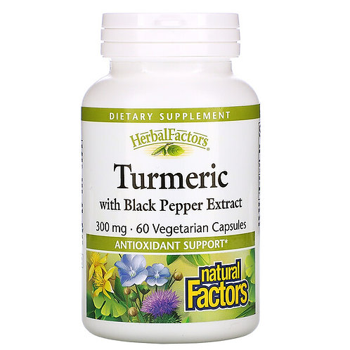 Natural Factors Turmeric with Black Pepper Extract 60 Vegetarian Capsules