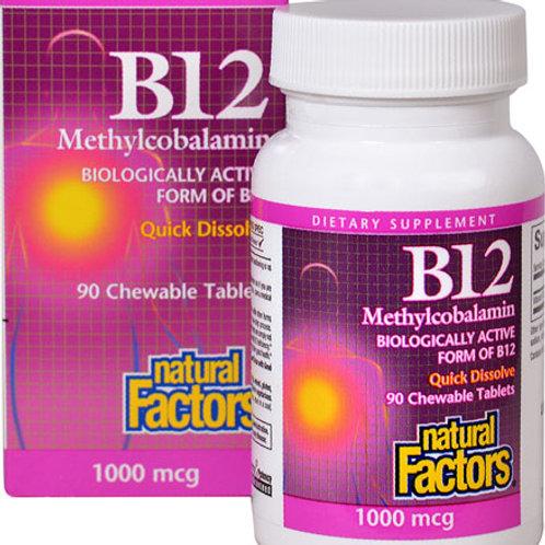 Natural Factors B12 Methylcobalamin 1000 mcg 90 chewable tablets