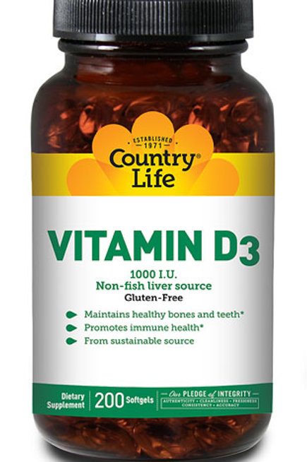Country Life Vitamin D3 1000 IU  200 Softgels
