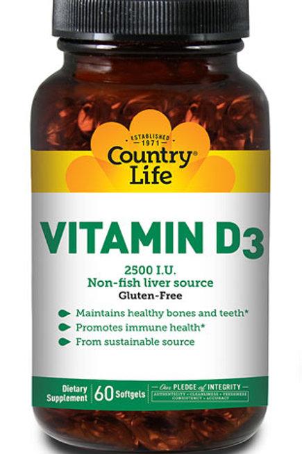 Country Life Vitamin D3 2500 IU  60 Softgels