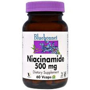 Bluebonnet Niacinamide Vitamin B3 500 mg 60 Veg Capsules