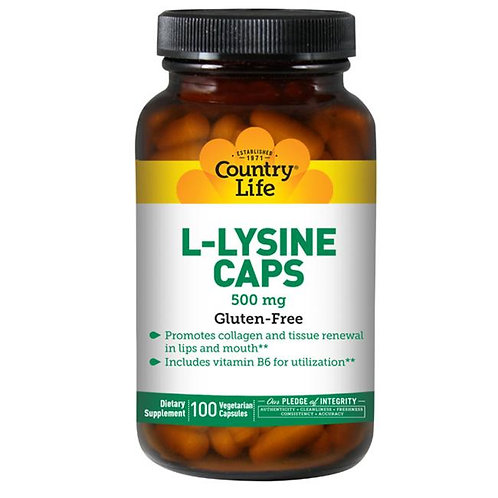 Country Life L-Lysine 500 mg 100 Vegetarian Caps