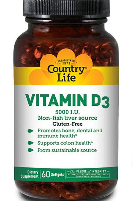 Country Life Vitamin D3 5000 IU 60 Softgels