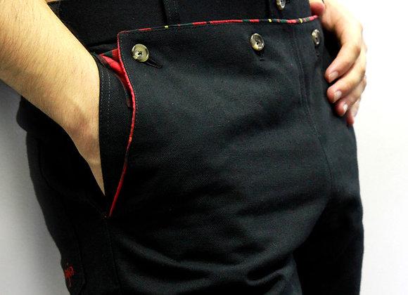 BLACK TWILL - RED LINING