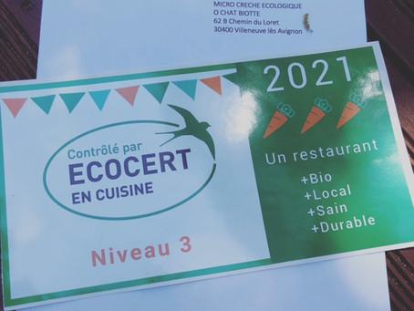 Notre cuisine reconnue et labélisée Ecocert® Niveau 3 ( le plus haut niveau en bio et local)
